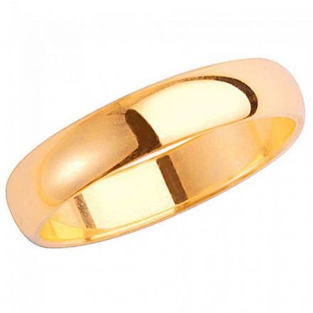 Yellow GOLD WEDDING RING 9K D SHAPE 4 MM, W104H
